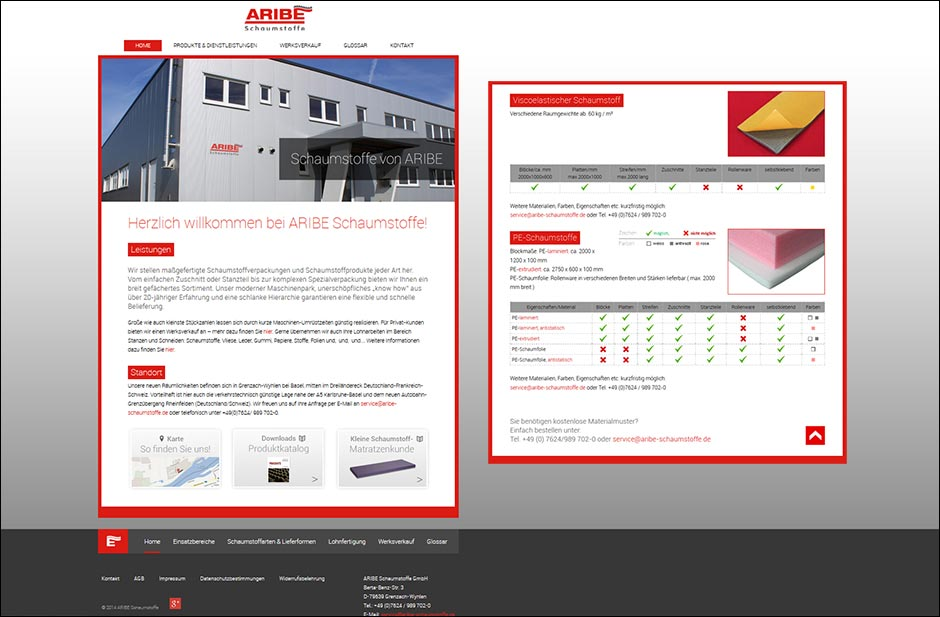 Website www.aribe-schaumstoffe.de