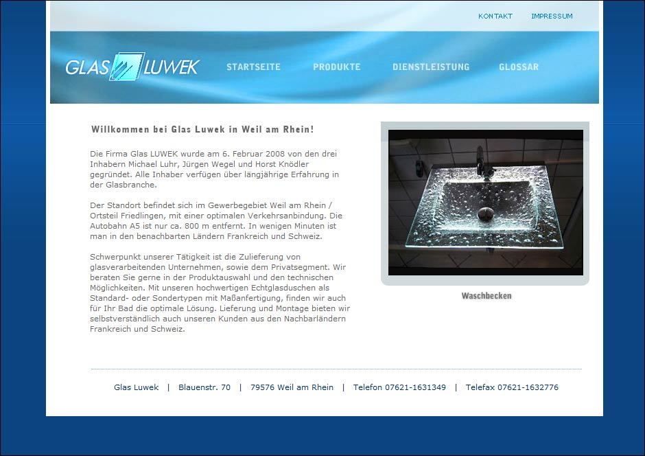 Website www.glas-luwek.de